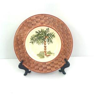 Gibson Plate Palm Tree Basket Weave Embossed Rim